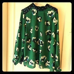Long sleeve mixed print blouse